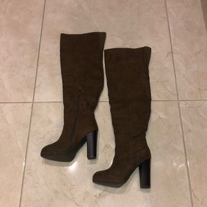 Over The Knee Caramel Almond toe boots